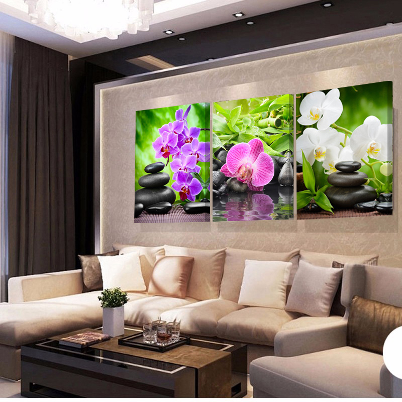 Pictures For House Decoration: 3 Piece Home Decoration Modern Canvas Wall Art Stone