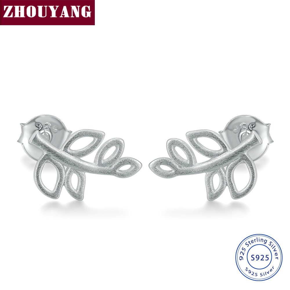 ZHOUYANG Special Wiredrawing Leaves Branches 925 Sterling Silver Earrings Fahion Jewelry For Women Girl Gift Wholesale EY213