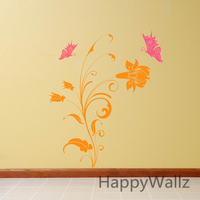 Butterfly Flowers Wall Sticker 3D Flower Butterfly Wall Decal DIY Vinyl Flower Decors Flower Wallpaper F30