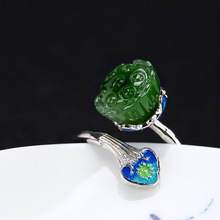2018 Fashion Silver S925 Pure Silver Antique Mosaic And Tian Biyu Lotus Cloisonne Lady High-end Open Ring Wholesale 2018 rushed real brinco s925 pure antique mosaic and tian yu jade bell orchid butterfly lady ear pendant earrings wholesale