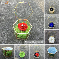 Geometric Ring Bearer Box Wedding Decor Vintage Preserve Fresh Flower Glass Holder Ring Boxes Marriage Wedding Party Decorations