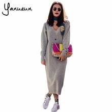 Yanueun 2017 осень-зима Для женщин High Street свободные длинные Платья-свитеры Повседневное с длинным рукавом V Средства ухода за кожей шеи трикотажные длинные платья для женщин