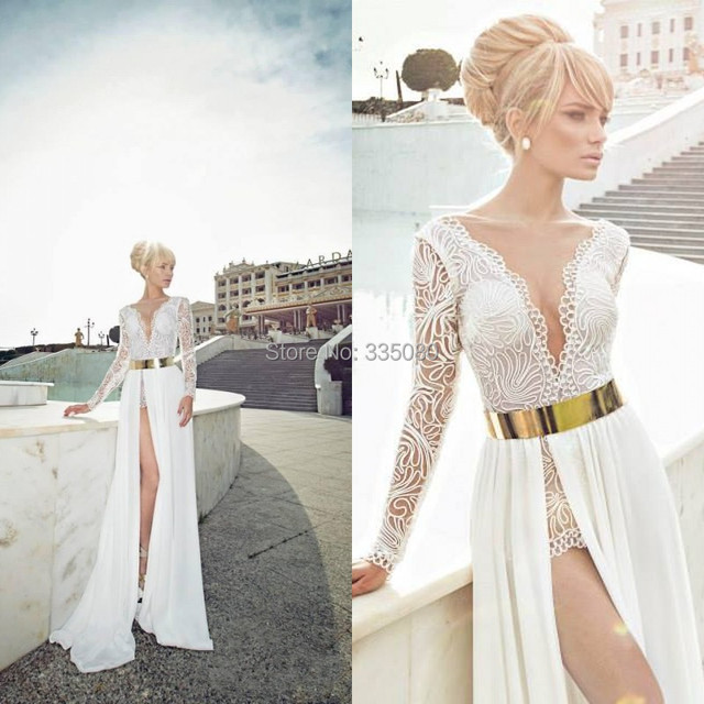 Custom Made V Neck See through Sheer Lace White High Side Slit Long Sexy  Gold Belt White 2015 Long Sleeve prom Dress 04593919385c
