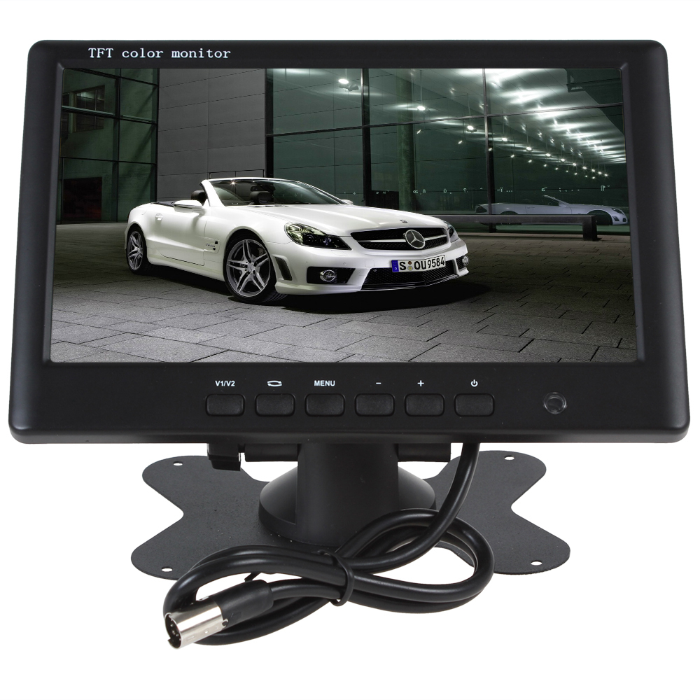 Sale HD 800 x 480 Super LCD Thin 7 Inch Color TFT 2 Channels Video Input Car Rear View Monitor + E306 18mm Color Car Camera 1 7 lcd car digital clock random color 2 x lr41
