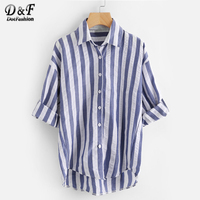 Dotfashion Contrast Striped Drop Shoulder Rolled Sleeve Shirt Woman Navy Lapel Vacation Top Summer Button Long