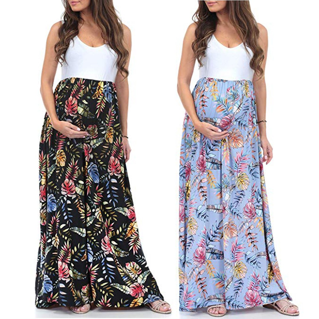 vetement femme 2019 Women's Sleeveless Maternity Pregnancy clothes dress Ruched Color Block Maxi Splicing Dress ropa de mujer(China)