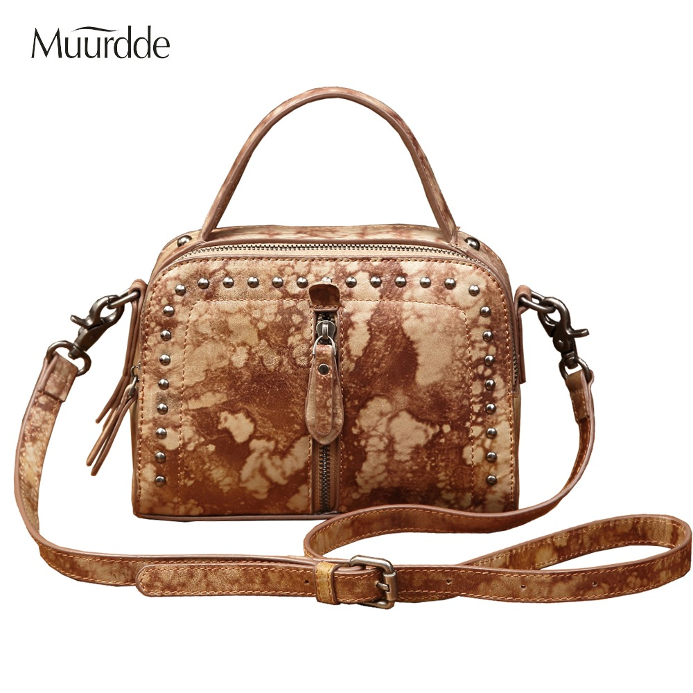 Muurdde brand Crossbody Bags For Women Messenger Bags 2018 Genuine Leather Bags Handbags Women Famous Rivet Small Shoulder Sac vintage pu leather bags crossbody bags for women messenger bags handbags women famous brand rivet belt buckle small shoulder sac