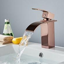 Vendita Calda Cascata Bagno Rubinetto in Ottone Deck Mounted Vanity Lavello Miscelatore rubinetto Calda e Fredda, il rubinetto del bacino, la rosa oro rubinetto