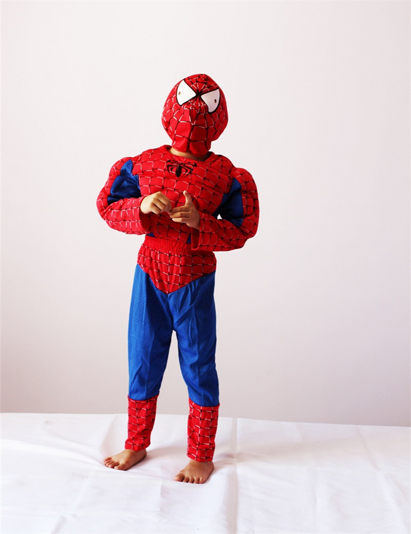 3-7Years Boy Red Spiderman Muscle Cosplay Halloween Party Costume For Kids Spiderman Cosplay T-Shirt+Pants Set S-XXL