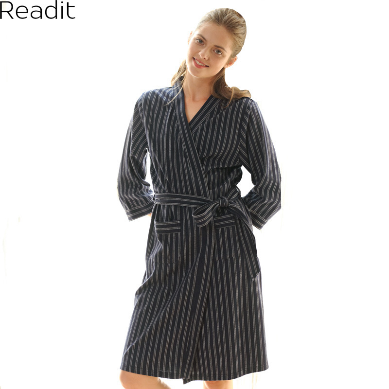 Readit Striped Bathrobe 2017 Winter Women Cotton Casual Warm ...