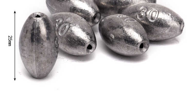 20pcs Weight 30g Cheap Price Saltwater Olive Shape Fishing Lead Sinkers