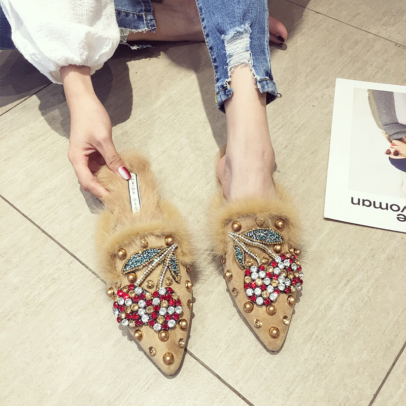 SWYIVY Woman Flats Mullers Shoes Half Slippers 2019 Spring Winter Female Casual Shoes Pointed Toe Rhinestone Velvet Fur Mullers