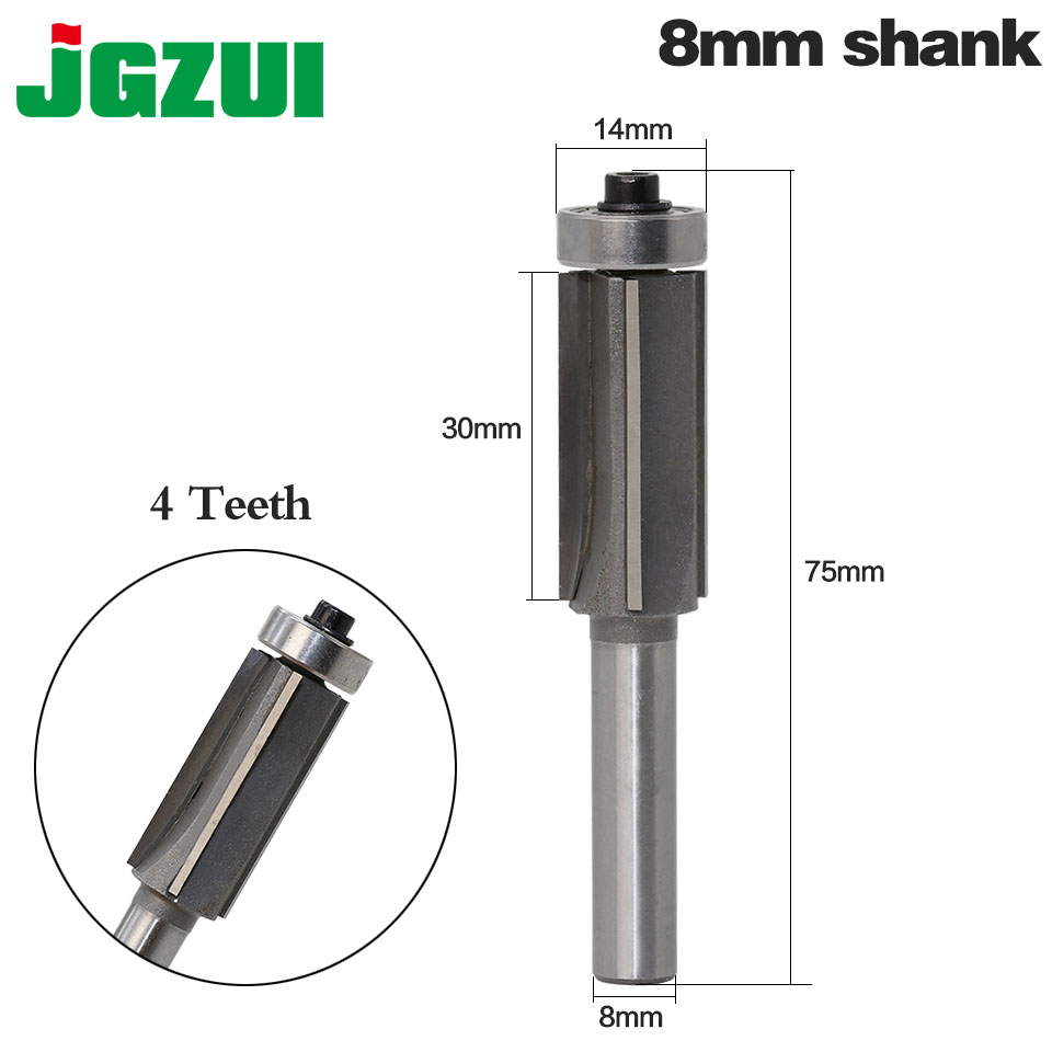 цена на 1PC 8mm Shank high quality Woodworking Milling Cutter Trimming Knife Edge Trimmer 4 Teeth Wood Router Bit