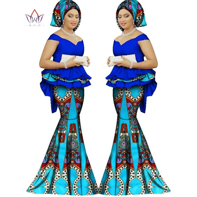 Лето 2017 г. комплект с юбкой Африканский Разработанный одежда традиционные Базен принт Базен Riche Большие размеры комплект с юбкой вечернее п…