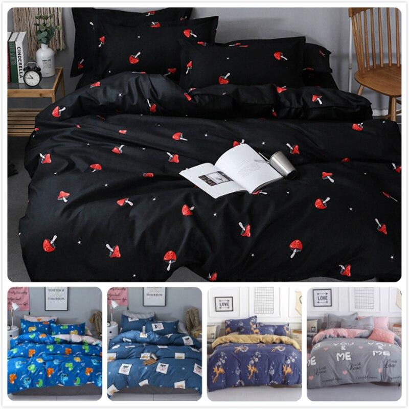 Black Red Mushrooms Pattern Kids Soft Cotton Bed Linen 3pcs/4pcs Bedspreads Single Twin Queen King Double Size Duvet Cover 1.8m