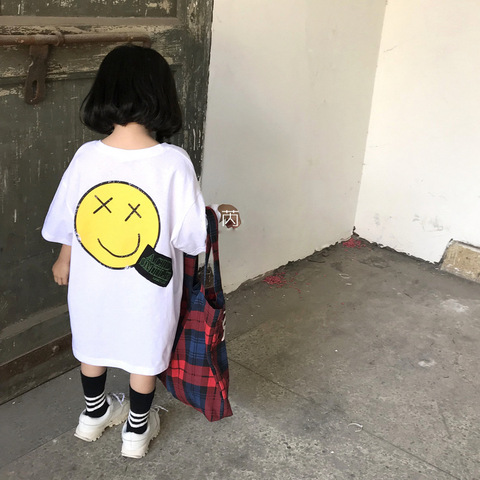 2019 novo item de verao menina longa camiseta com grande sorriso