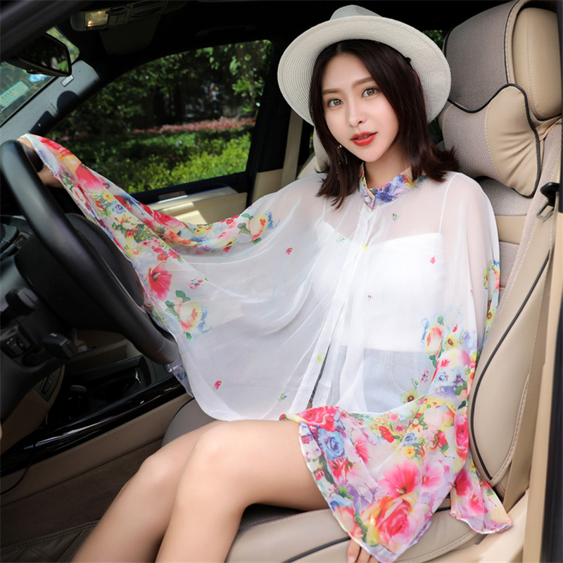 Modis Printed Scarf Women Summer Sunscreen Chiffon Shawls Long Sleeve Korean Fashion Silk Scarves Female Poncho Foulard Femme