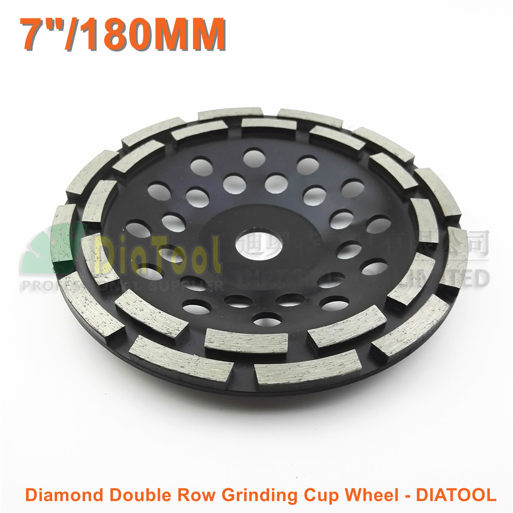 Dia 180MM Metal bond Diamond Double Row Grinding Cup Wheel 7 Twin Row Grinding disc bore 22.23mm concrete granite marble metal bond 10pcs 3 diamond grinding cup