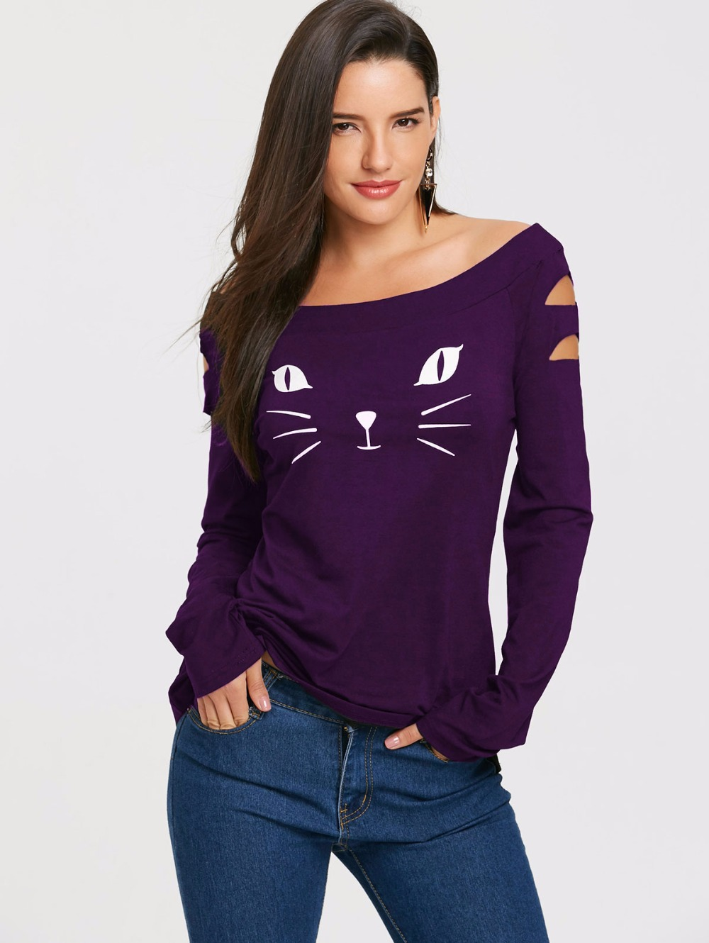 VESTLINDA Women T Shirts Casual Autumn Cat Clothes Womens Tops Cat Face Print Long Sleeve Ripped T-Shirt Women's Clothing Tshirt 21