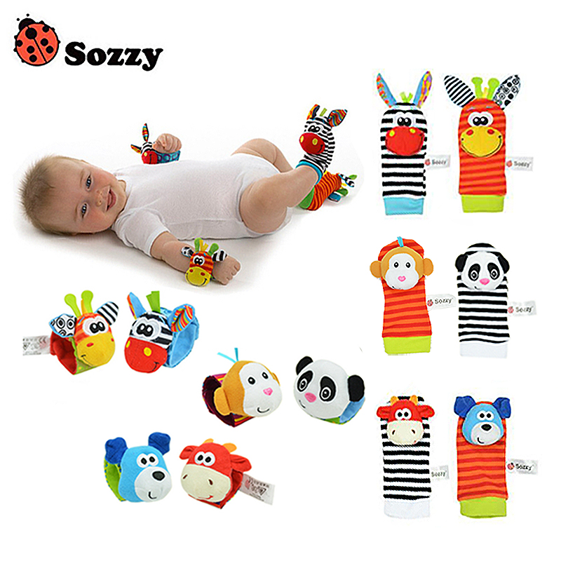 Sozzy 2pcs soft baby toy wrist strap socks cute cartoon garden bug plush rattle with ring