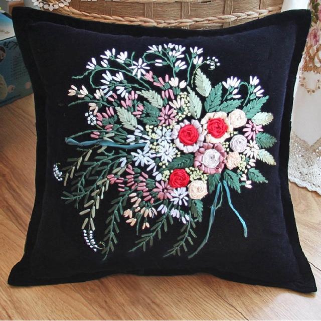 Flower Black Ribbon Embroidery Cushion Kit Pillow Cover Set