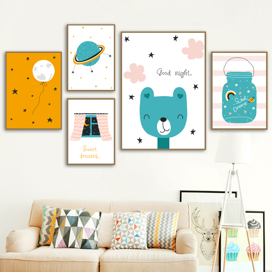 Cartoon Bear Moon Planet Dream Quote Wall Art Canvas Painting Nordic Posters And Prints Wall Pictures For Baby Kids Room Decor