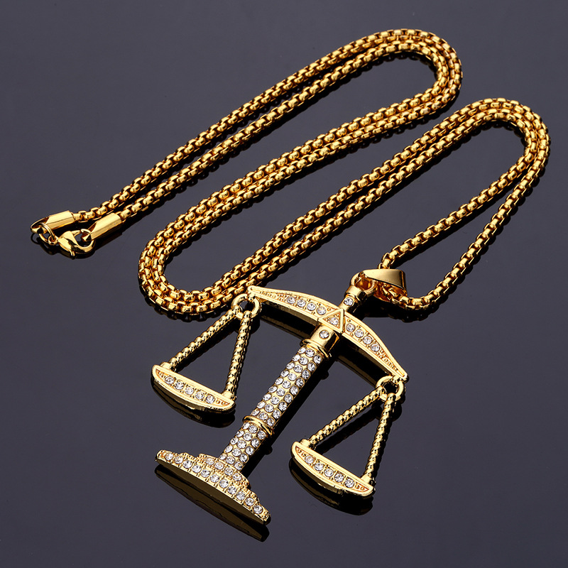 Hip hop jewelry justice balance scales pendant necklace men women hip hop jewelry justice balance scales pendant necklace men women rhinestone rocket pendant necklace gold color big pendants in pendant necklaces from mozeypictures Images