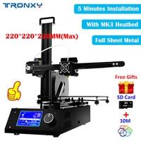 Tronxy 3 d printer High Quality 3D Printers 2018 kits DIY Full sheet Metal architecture machine Reprap impresora 3D +MK3 Heatbed