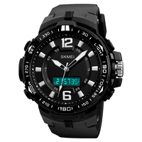 New Fashion Men Military Watch 50m Waterproof Wristwatch Silicone Material Dual Time Display LED Quartz Clock