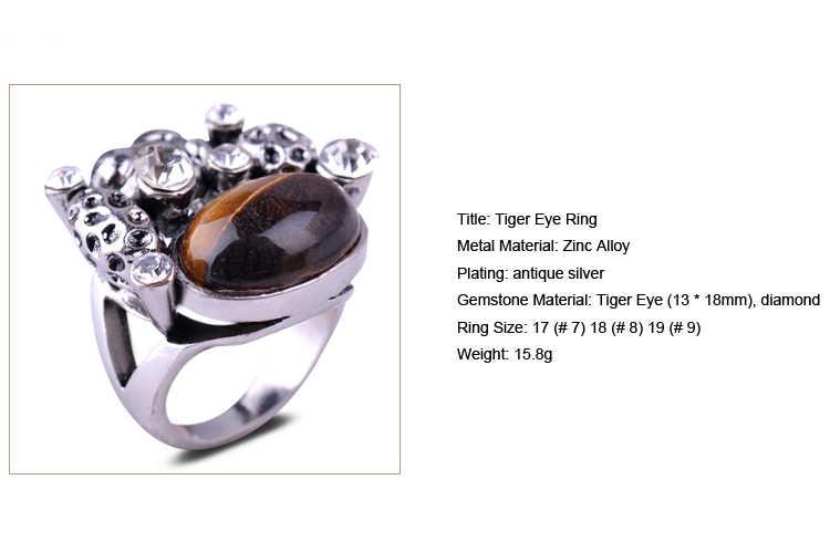 ใหม่ Tiger Eye แหวนเงินโบราณสีแดง Agate Amethyst การตั้งค่ารวบรวมเงินคริสตัลสไตล์วินเทจผู้ชายของขวัญนิ้วมือแหวนผู้หญิง