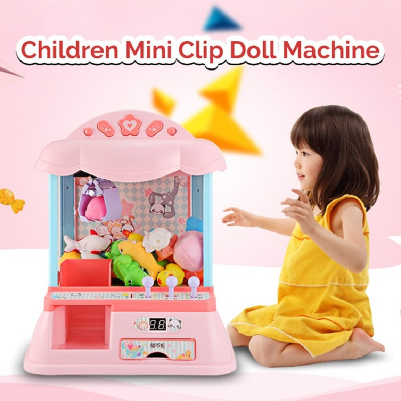 Mini Electronic Clip Claw Doll Machine Toy Children's Toys Simulate Claw Arcade Crane Includes 6 Ragdoll And 20 Silicone Doll led screen toy crane machine board kits arcade toy crane mainboard coin operated doll machine claw machine