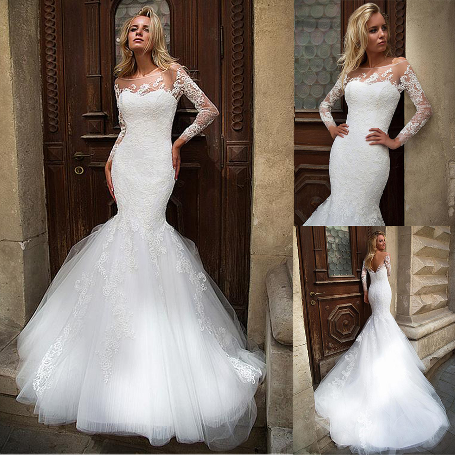 Fantastic Tulle Bateau Neckline Natural Waistline Mermaid Wedding Dress With Lace Appliques Slim Long Sleeves Bridal Dresses
