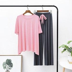 Image 3 - Yaz ve sonbahar kadın pijama konfor yumuşak Modal pijama seti yuvarlak yaka düz renk 2 adet üstleri + pantolon/şort gevşek ev tekstili