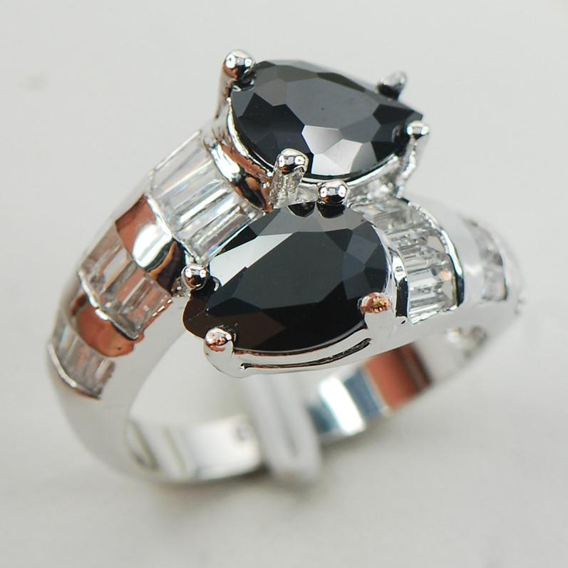 Black Onyx White Crystal ZirconWomen 925 Sterling Silver Ring F962 Size 6 7 8 9 10