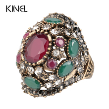 Luxury Turkish Jewelery Colorful Resin Ring Color Ancient Gold Vintage Wedding Rings For Women Crystal Accessories Gift