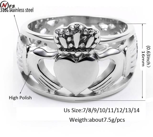 a016b092082c0 NFS Love Hand Heart Queen Crown Rings Men Stainless Steel Irish Wedding  Engagement Ring Royal King Crown Knight Ring