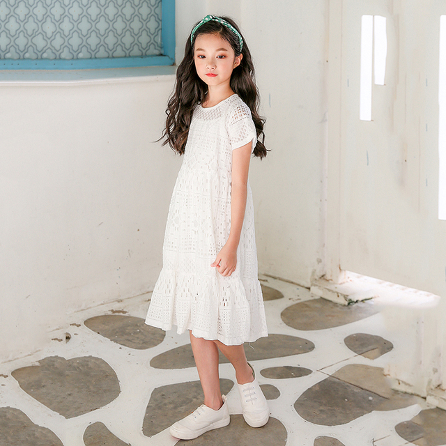 b4cd103409adb الدانتيل كبيرة الفتيات فساتين 2018 الاطفال ملابس للفتيات الأطفال الصيف  القطن الجوف خارج الأبيض الأميرة اللباس