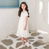Lace Big Girls Dresses 2018 Kids Clothes For Girls Children Summer Cotton Hollow Out White Princess