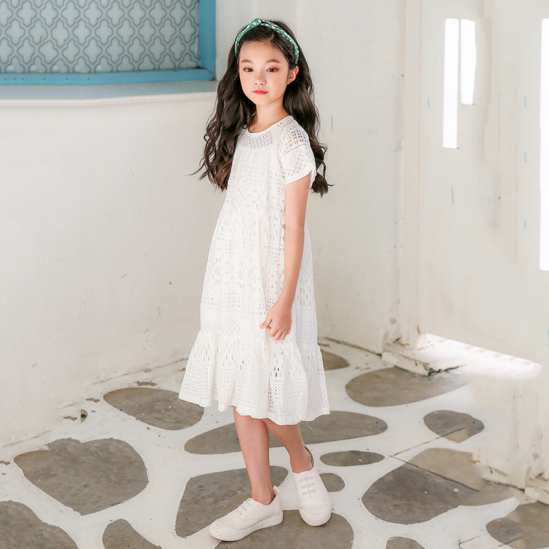 lace big girls dresses 2018 kids clothes for girls children summer cotton hollow out white princess dress party teenagers girls