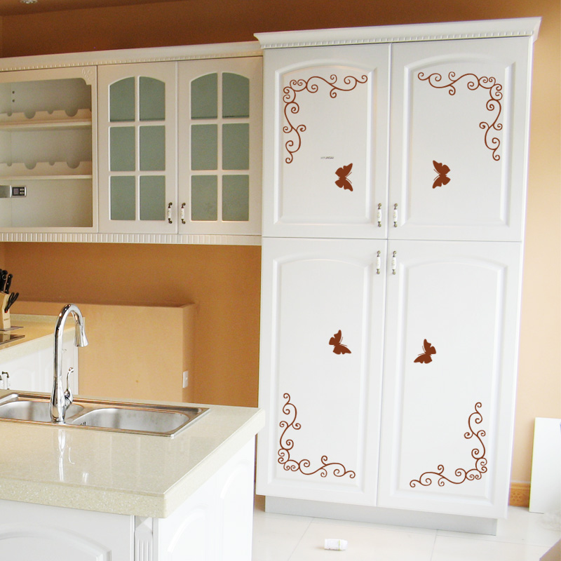 the kitchen cabinets the bedroom closet cupboard door wall stickers