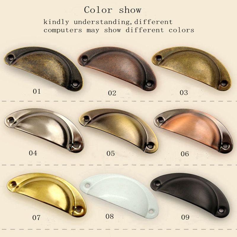 10 pçs de metal retro gaveta da cozinha armário maçaneta da porta móveis puxadores de ferragem armário bronze antigo concha puxar alças