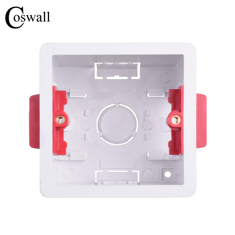 Coswall 1 gang dry lining box for gypsum board plasterboad 47mm depth wall switch box wall socket cassette (white)