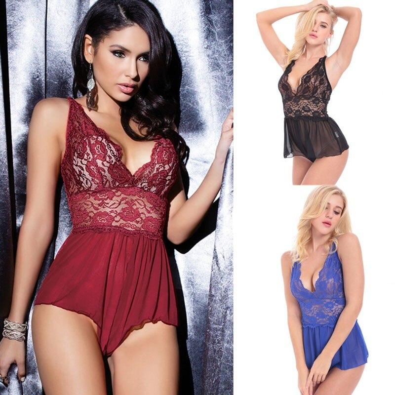Casual Lenceria Sexy Lingerie Women Hot Lace Open Crotch Sleepwear Plus Size Lingerie Adult Sex Underwear Nightdress For Women