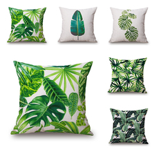 Майтрий зеленый цвет листьев Подушка крышка Африка тропический завод печатных подушки покрытия диван кровать бросить подушку случае дома диван украшения