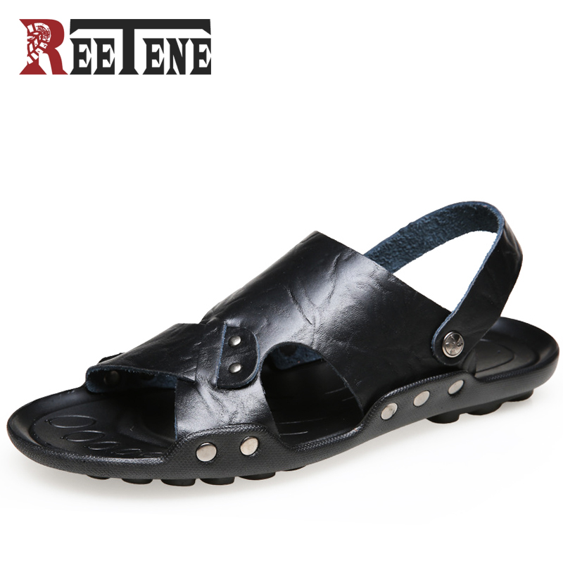 REETENE Summer Shoes For Men High Quality PU Leather Men Beach Sandals Breathable Men Slippers 2018 Summer Sandals Des Sandales