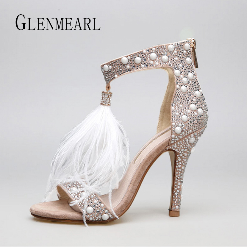 Genuine Leather Women Sandals Summer Shoes High Heels Brand Fur Rhinestone Feather White Woman Wedding Shoes