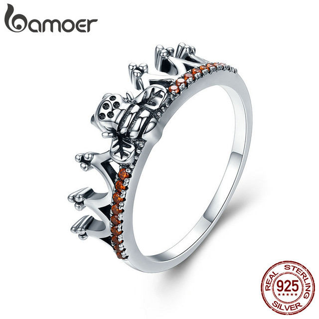 100% 925 Sterling Silver Bee in Princess Crown Ring