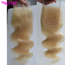 7A Brazilian Virgin Hair Weft Body Wave closure 3.5*4 Free/Middle/Three Part Lace Closure Platinum Blonde 613 Human Hair closure