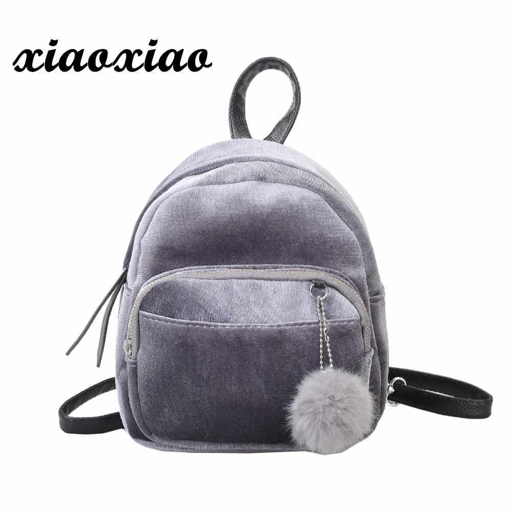 f45456fc2c77 Мини женские рюкзаки однотонная модная школьная сумка для девочек-подростков  с меховым шариком однотонный вельветовый