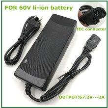เอาต์พุต67.2V2Aสำหรับ60V Li Ion Lithiumแบตเตอรี่ไฟฟ้าจักรยานPC IEC Connector